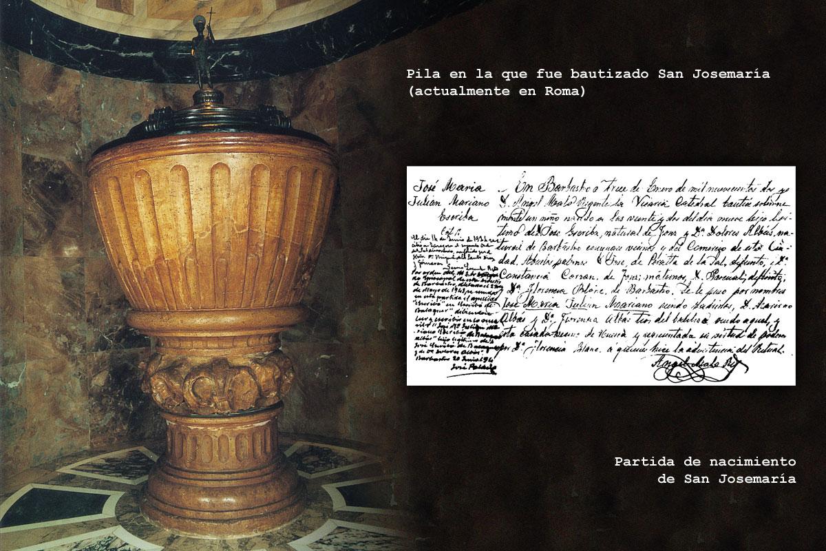 Pila bautismal de la Catedral de Barbastro y partida de nacimiento de San Josemaría